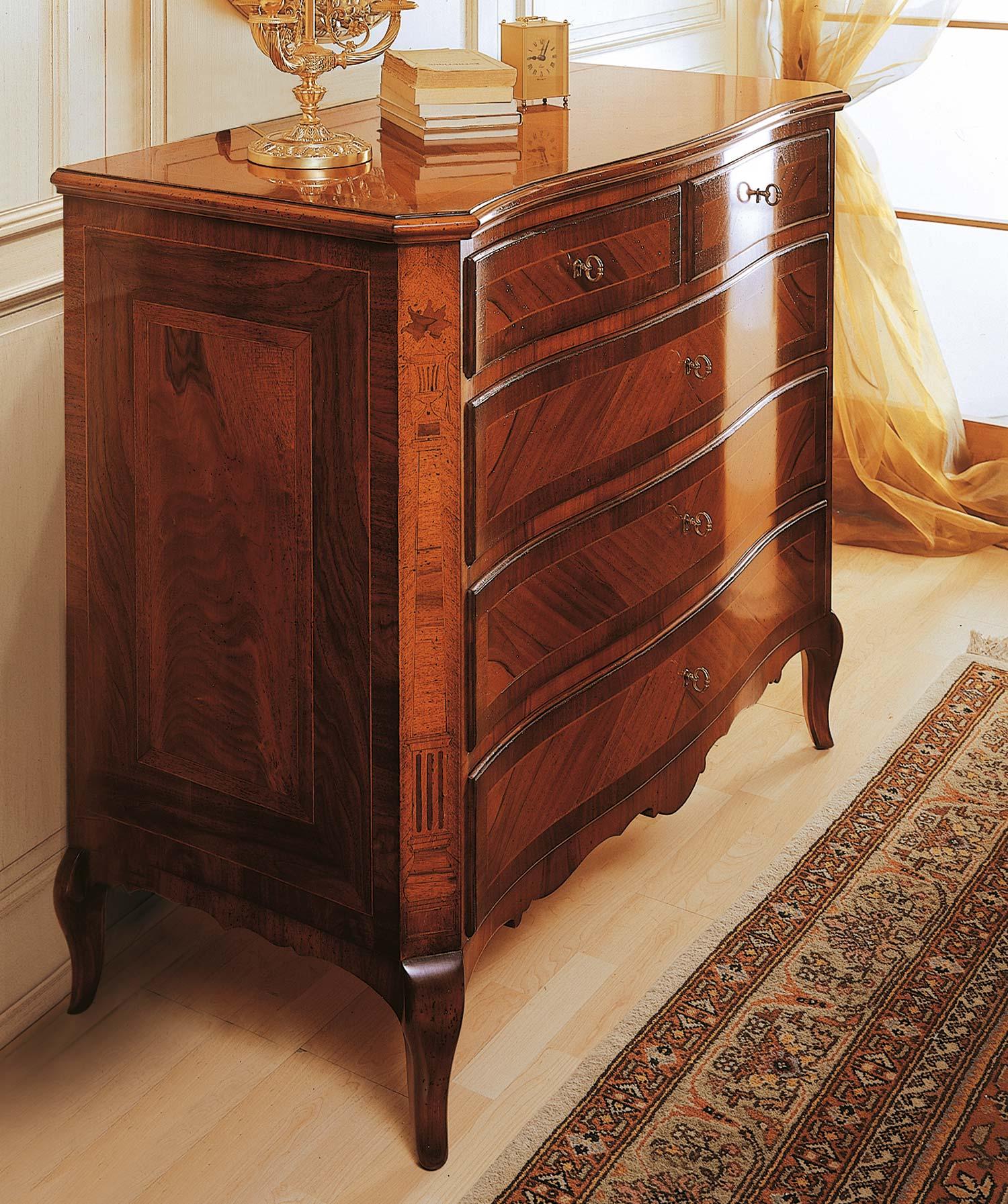 Camera da letto classica 800 francese com in noce - Camera da letto in francese ...