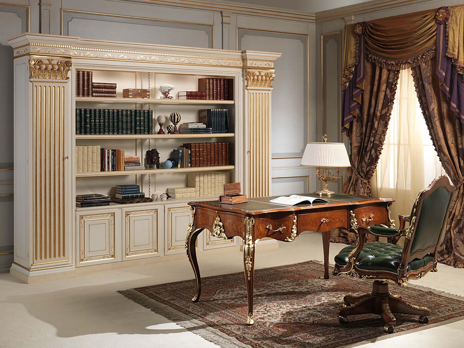Scrivania e poltrona luigi xv con libreria classica for Arredamento casa classico