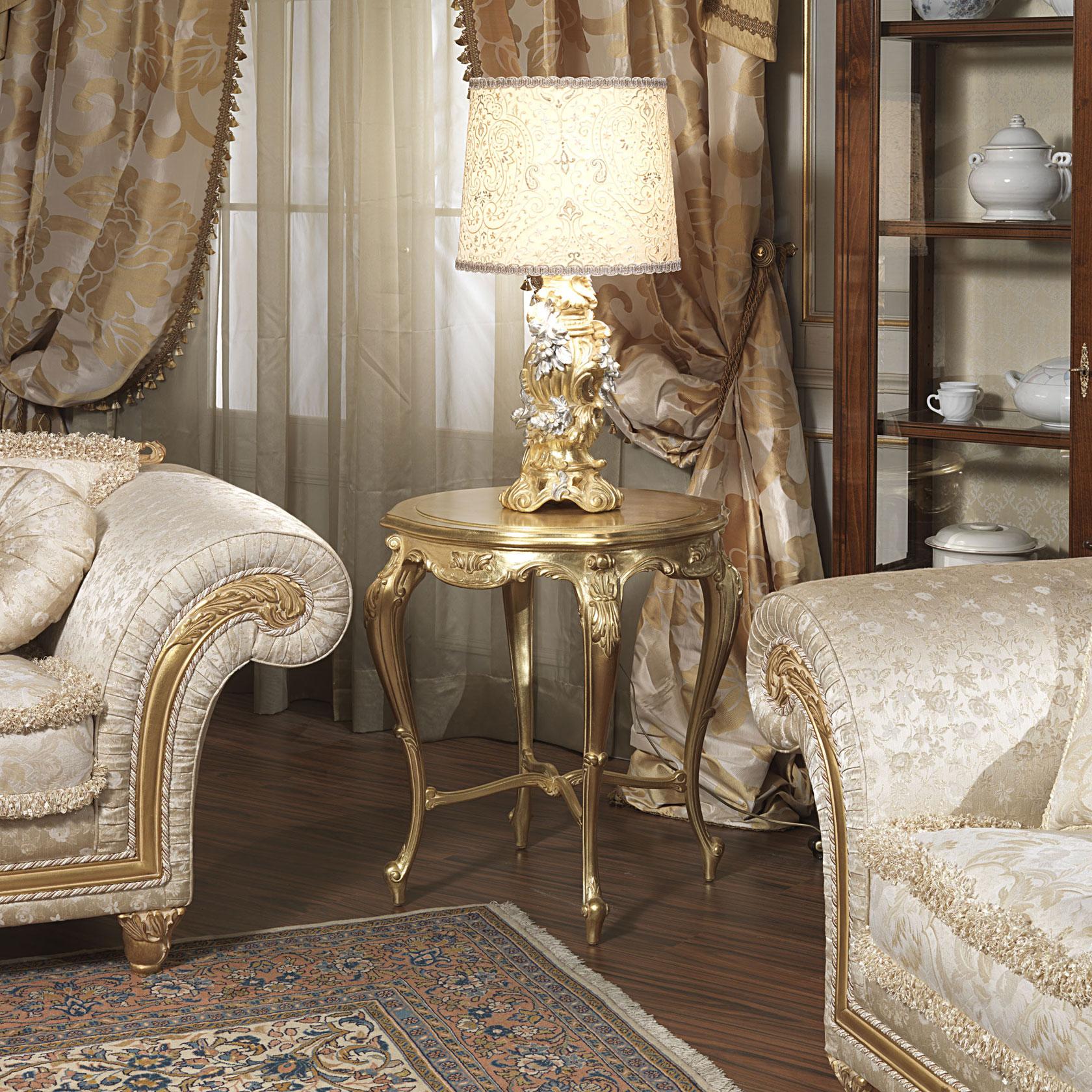 Salotto classico Imperial pelle con tavolino dorato | Vimercati Meda