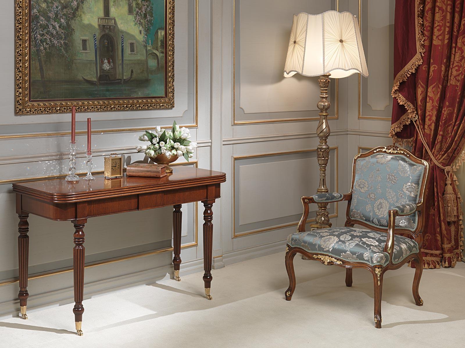 Tavolo consolle classico allungabile con ruote vimercati - Tavolo consolle allungabile stile classico ...
