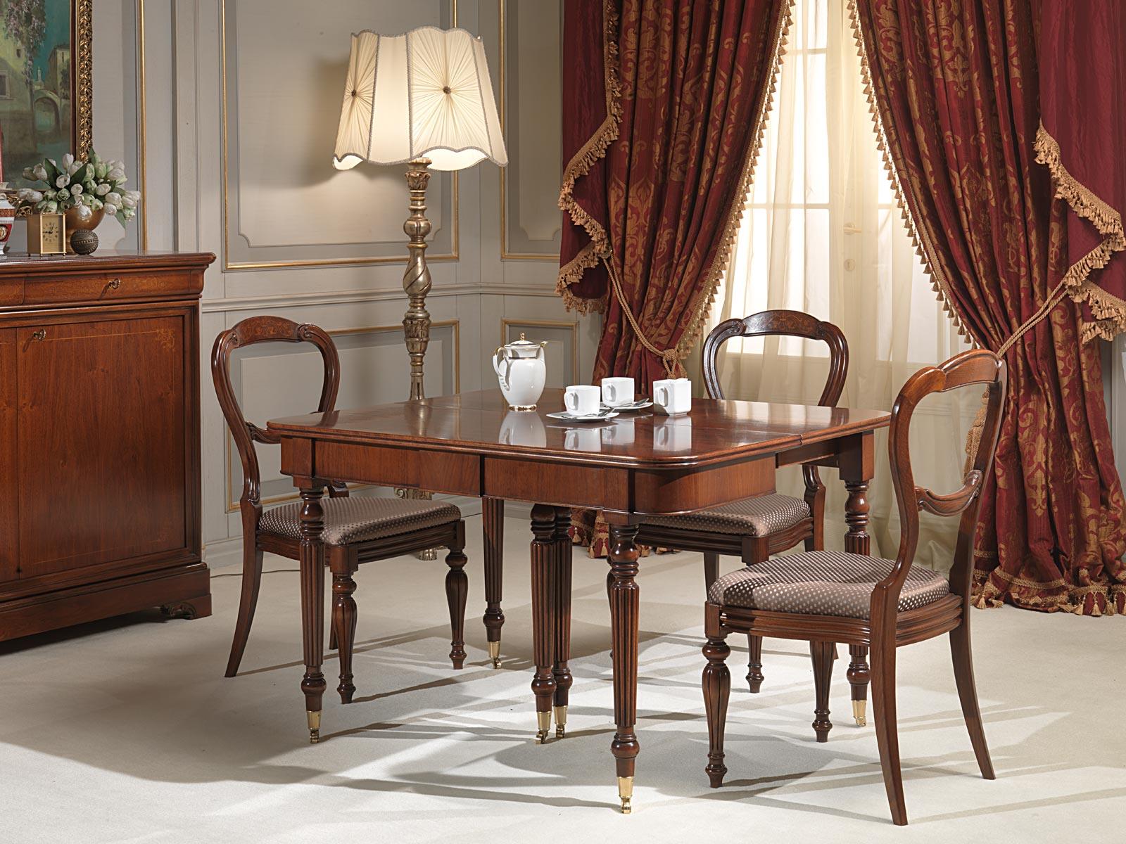 Tavolo consolle allungabile con ruote parzialmente - Tavolo consolle allungabile stile classico ...
