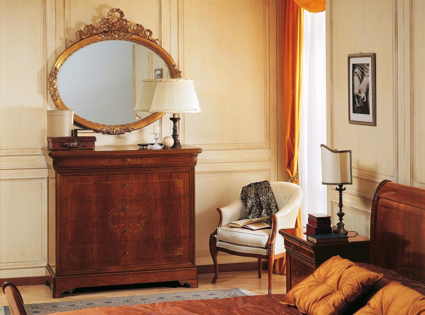 Camera da letto 800 francese com intarsiato e specchiera - Camera da letto in francese ...