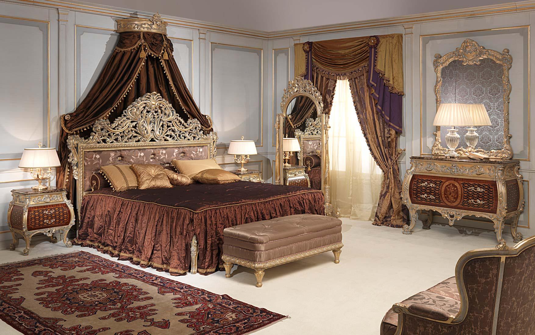 Camera da letto classica emperador gold in stile luigi xv - Camere da letto classiche di lusso ...