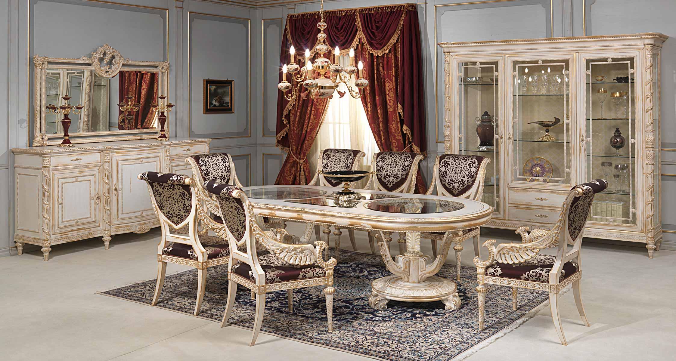 Sala Da Pranzo White And Gold In Stile Luigi XVI Vimercati Meda #905E3B 2246 1200 Mobili Bianchi Sala Da Pranzo