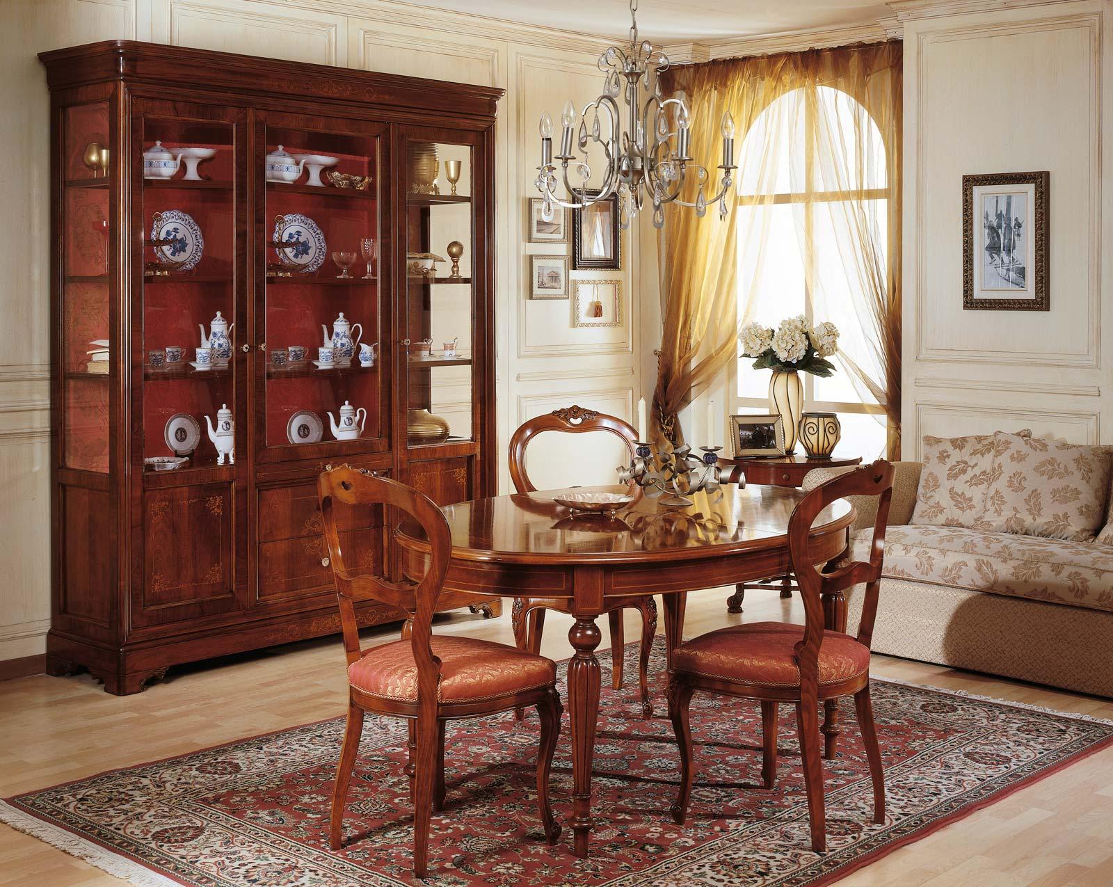 Sala da pranzo 800 francese tavolo e vetrina vimercati meda - Sale da pranzo contemporanee ...