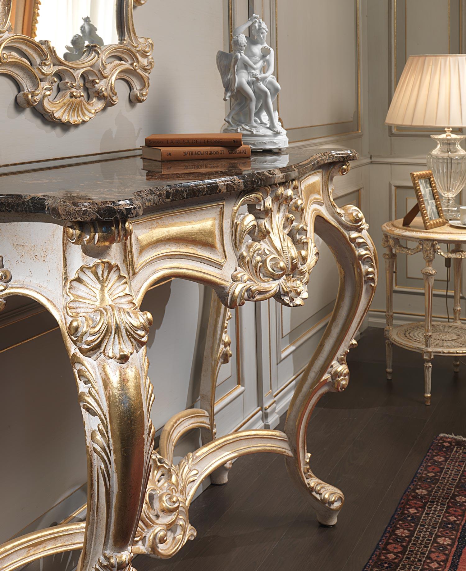 Consolle Classica Intagliata Bianco Su Oro Vimercati Meda #8F653C 1500 1839 Sale Da Pranzo Classiche