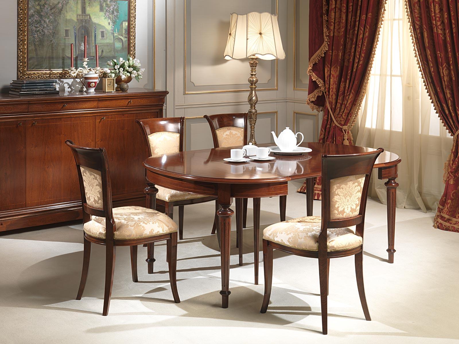 Tavolo ovale allungabile con intarsi vimercati meda - Tavolo ovale allungabile ...