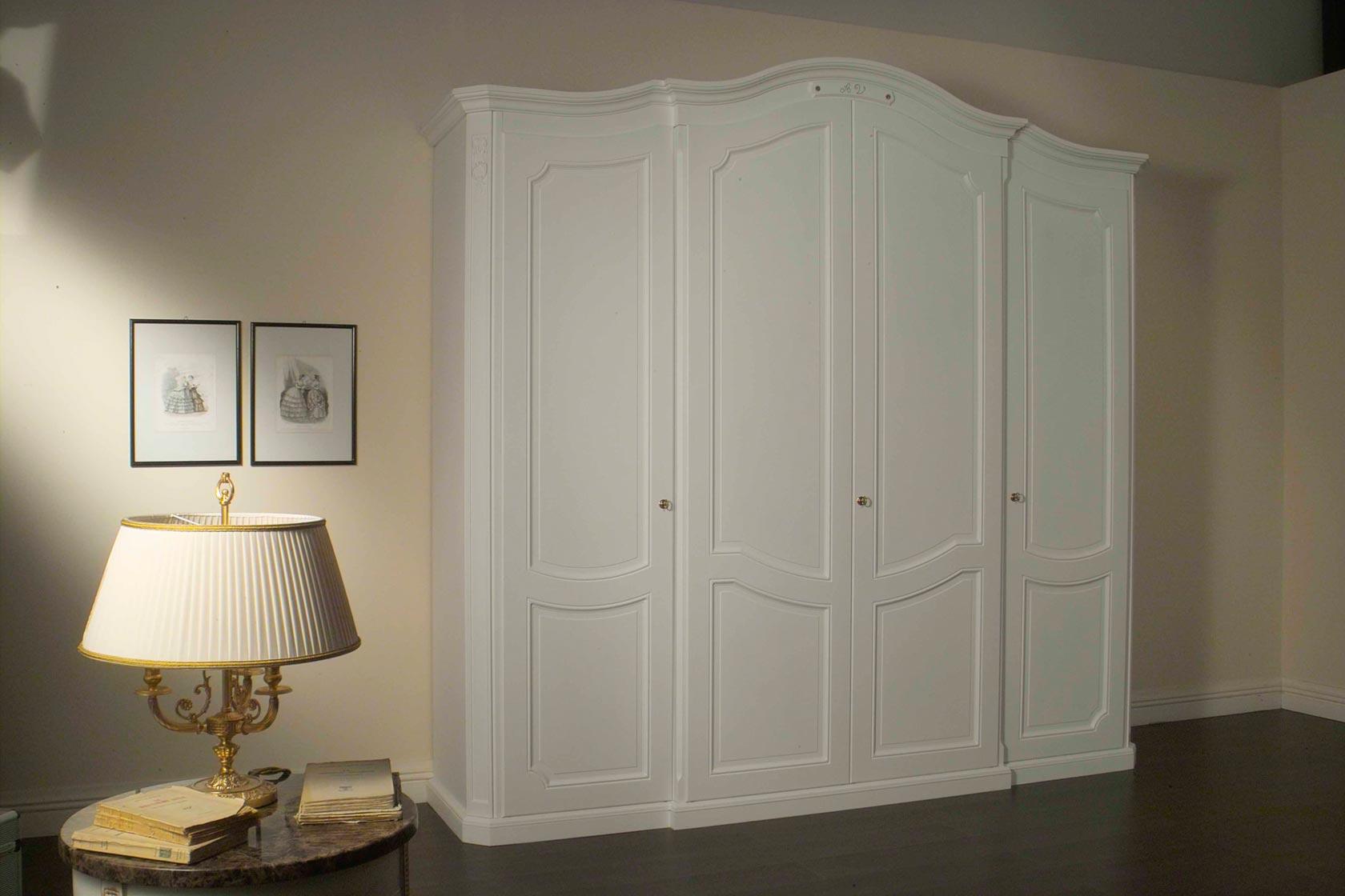 Armadio classico settecento laccato bianco vimercati meda - Armadi da camera da letto ...