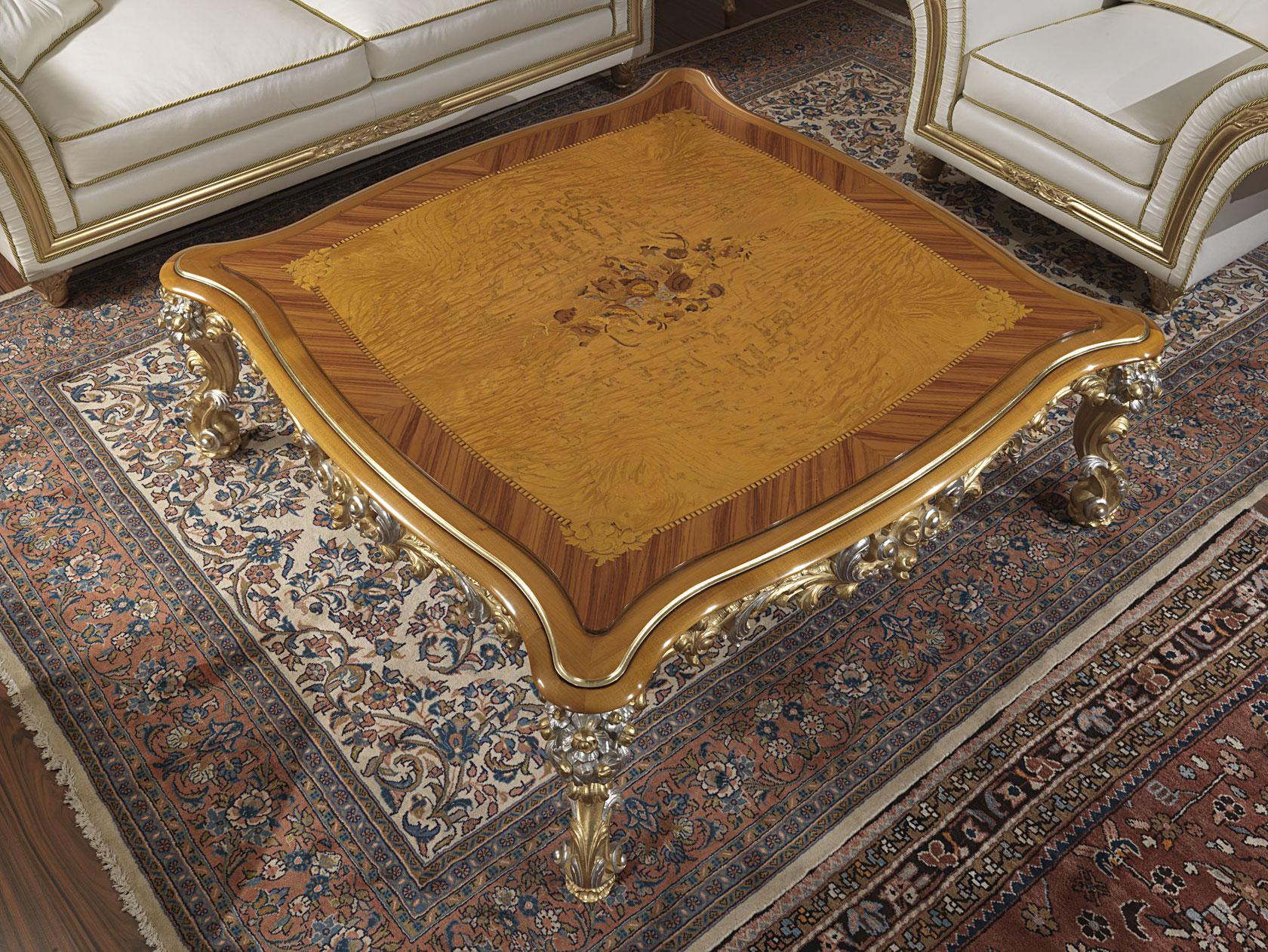 Salotto classico imperial in pelle bianca tavolo intarsiato e