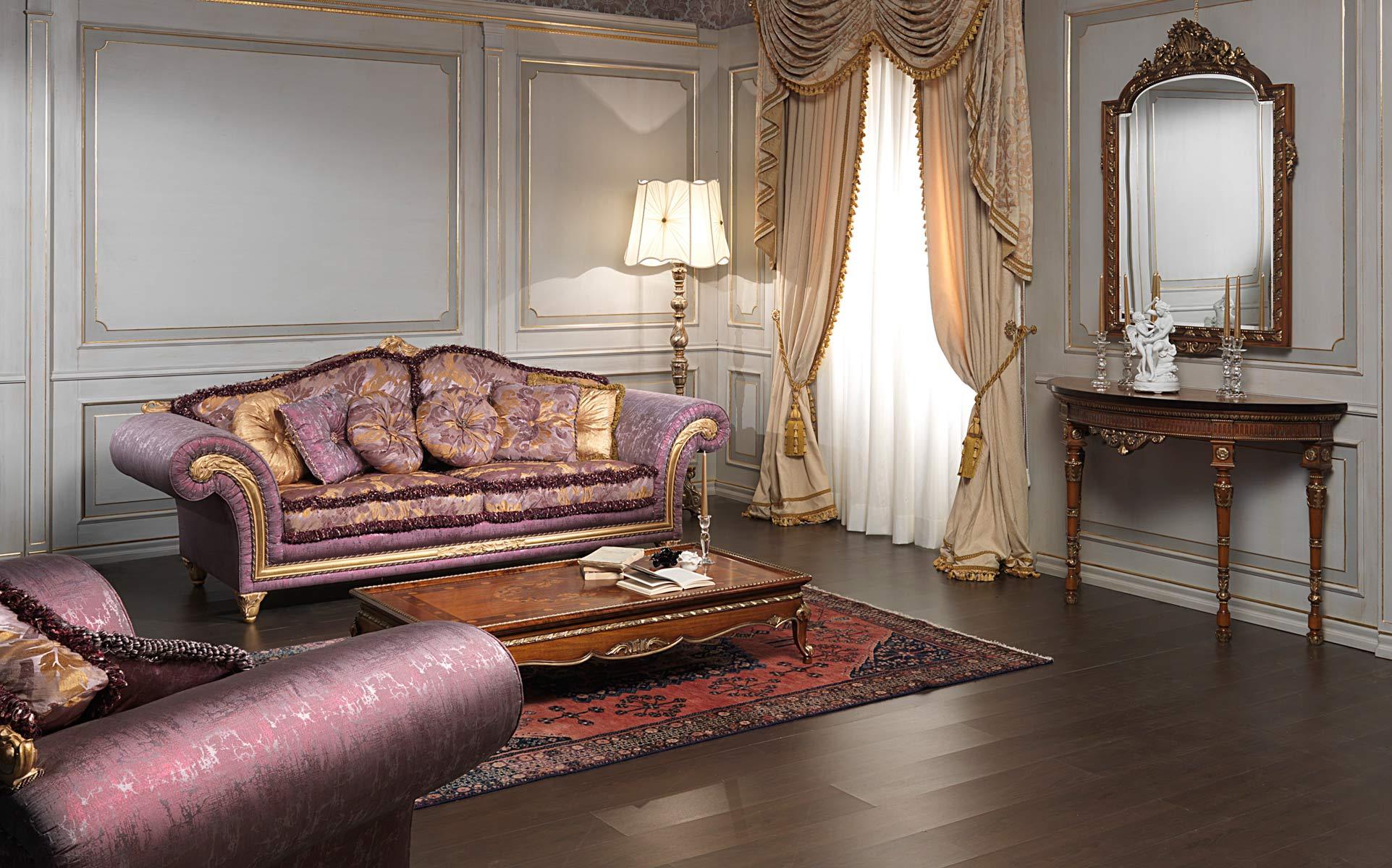 Salotto classico imperial in stoffa viola vimercati meda for Vimercati meda