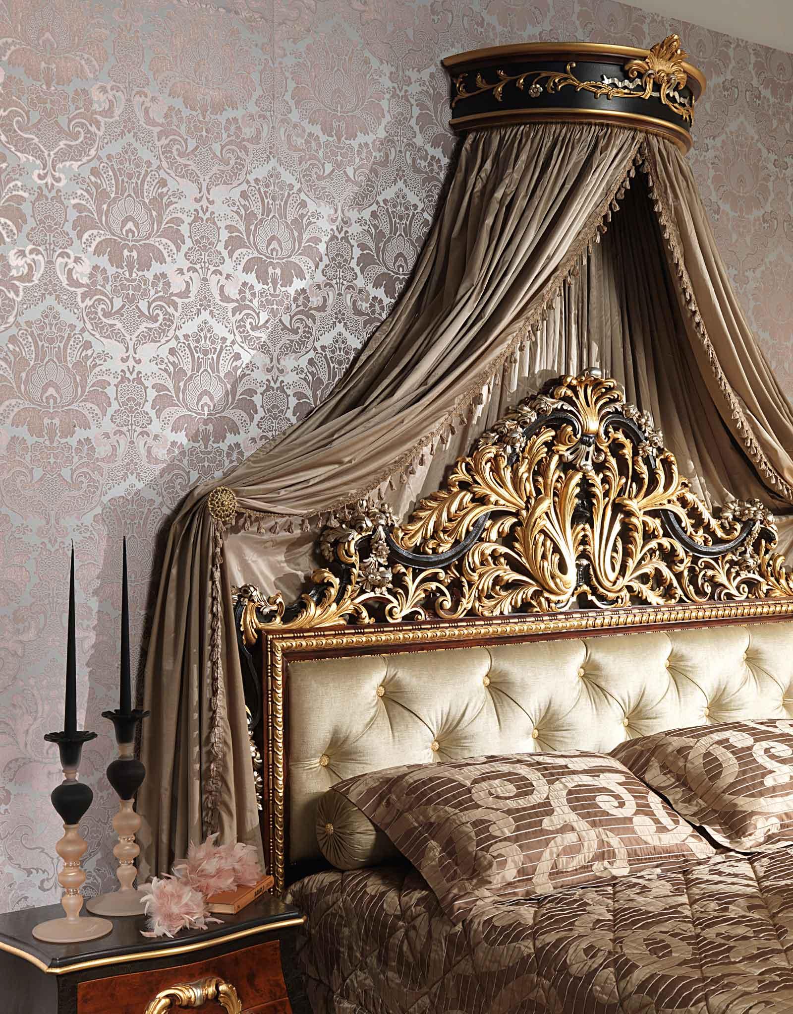 Camera da letto classica emperador black letto con for Letto appeso al muro