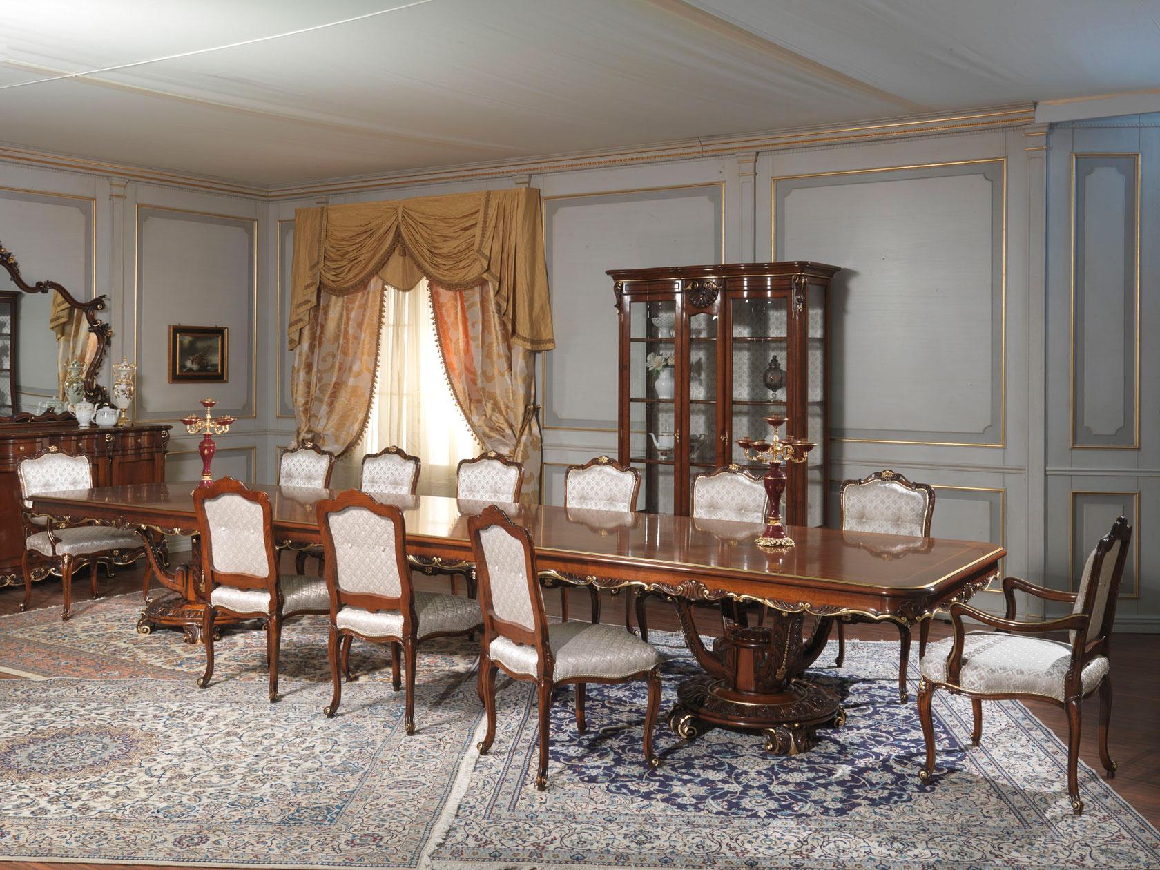 Tavolo da pranzo stile luigi xv vetrina intagliata for Mobili luigi