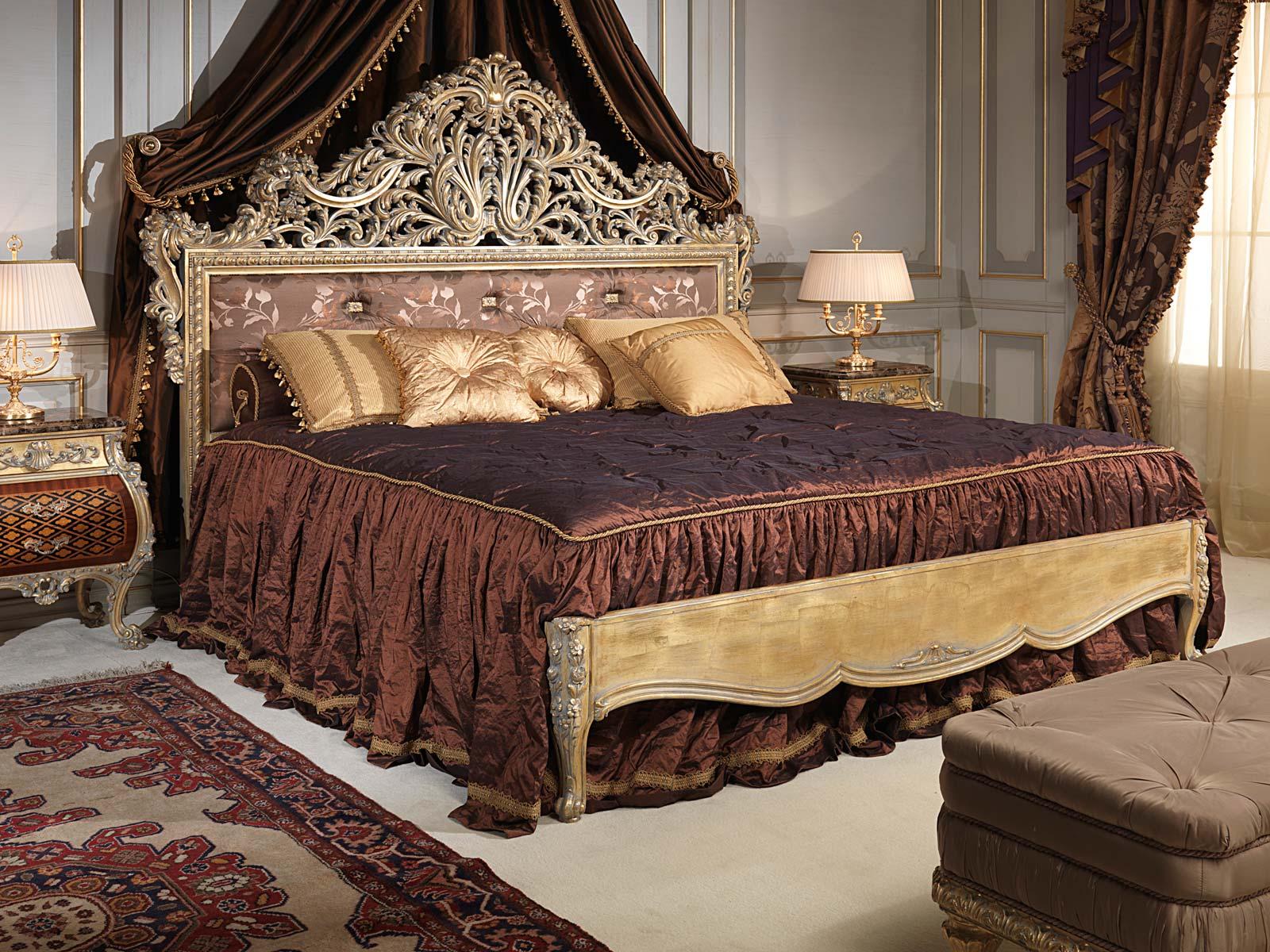 Camera da letto emperador gold stile luigi xv mobili classici di lusso vimercati meda - Divani letto classici di lusso ...