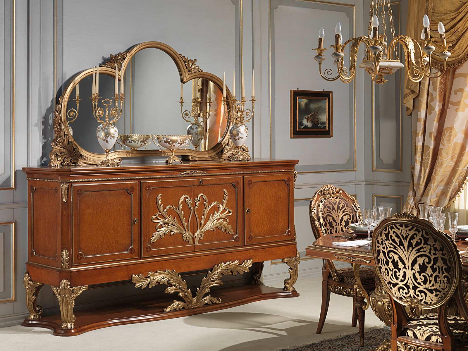 Credenza Versailles In Stile Luigi XVI Vimercati Meda #764121 1600 1200 Sala Da Pranzo In Noce