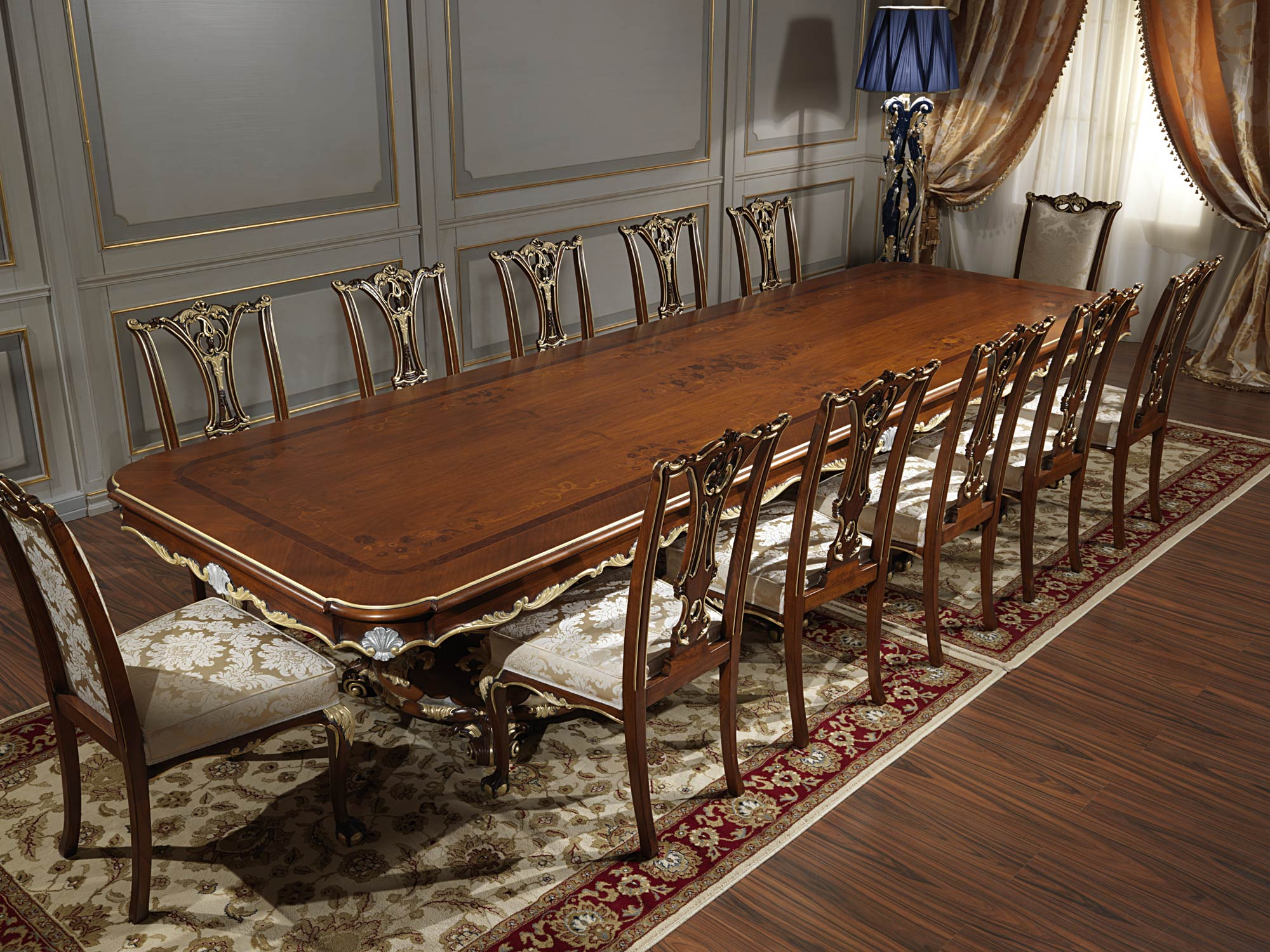 Tavolo classico soggiorno in stile luigi xv vimercati meda - Tavoli da pranzo classici ...