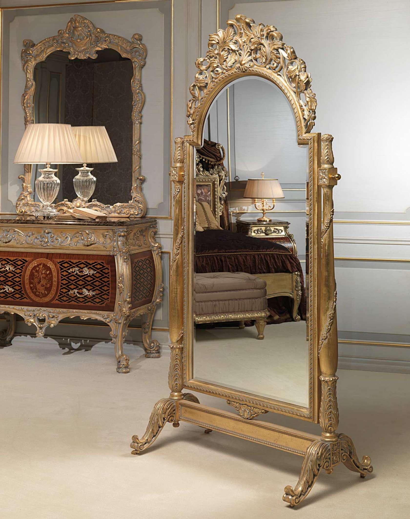 Camera da letto classica Emperador Gold, specchiera con ...