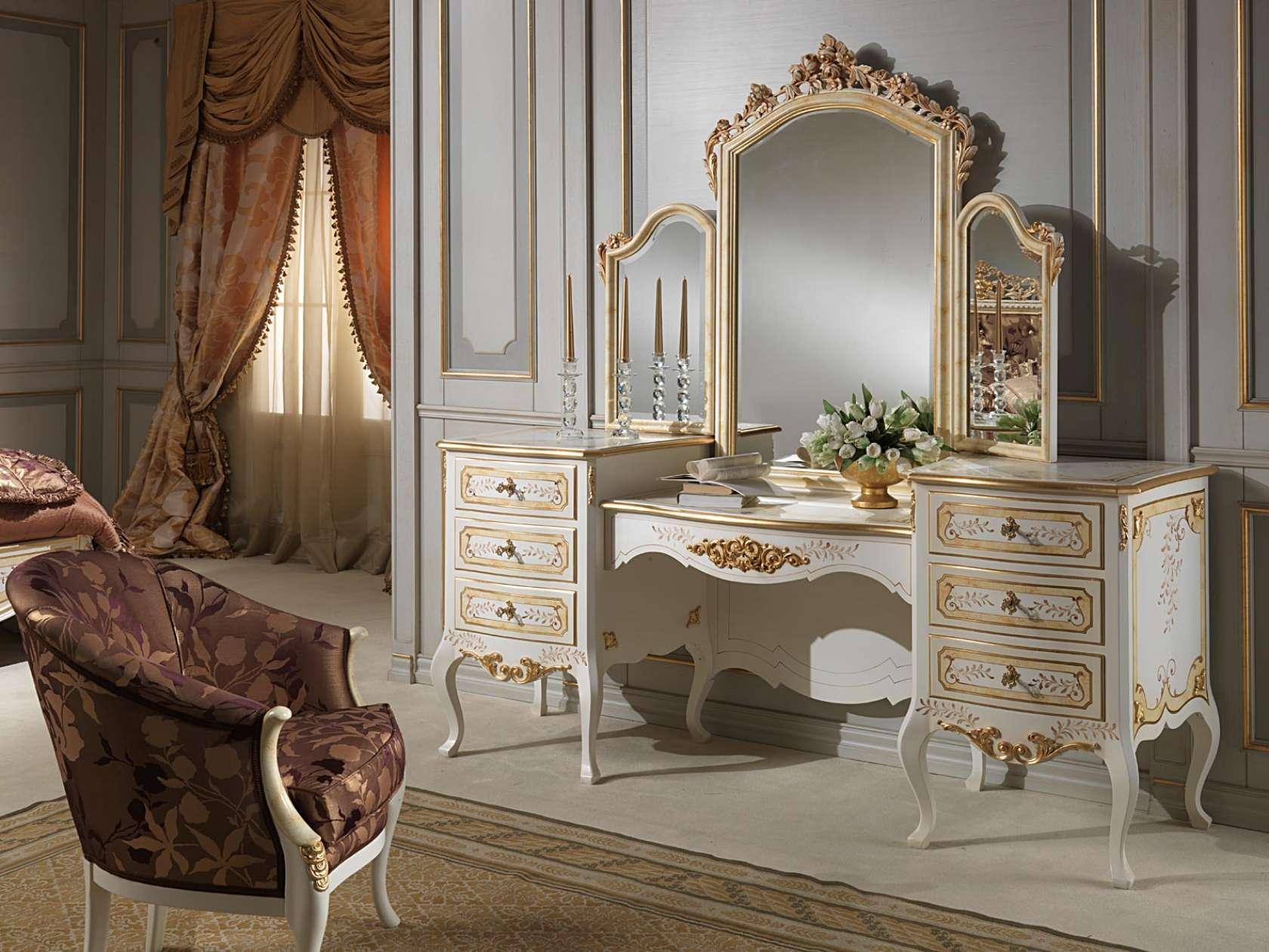 Comodino Con Specchiera.Camera Da Letto Classica Louvre Toilette Classica Con