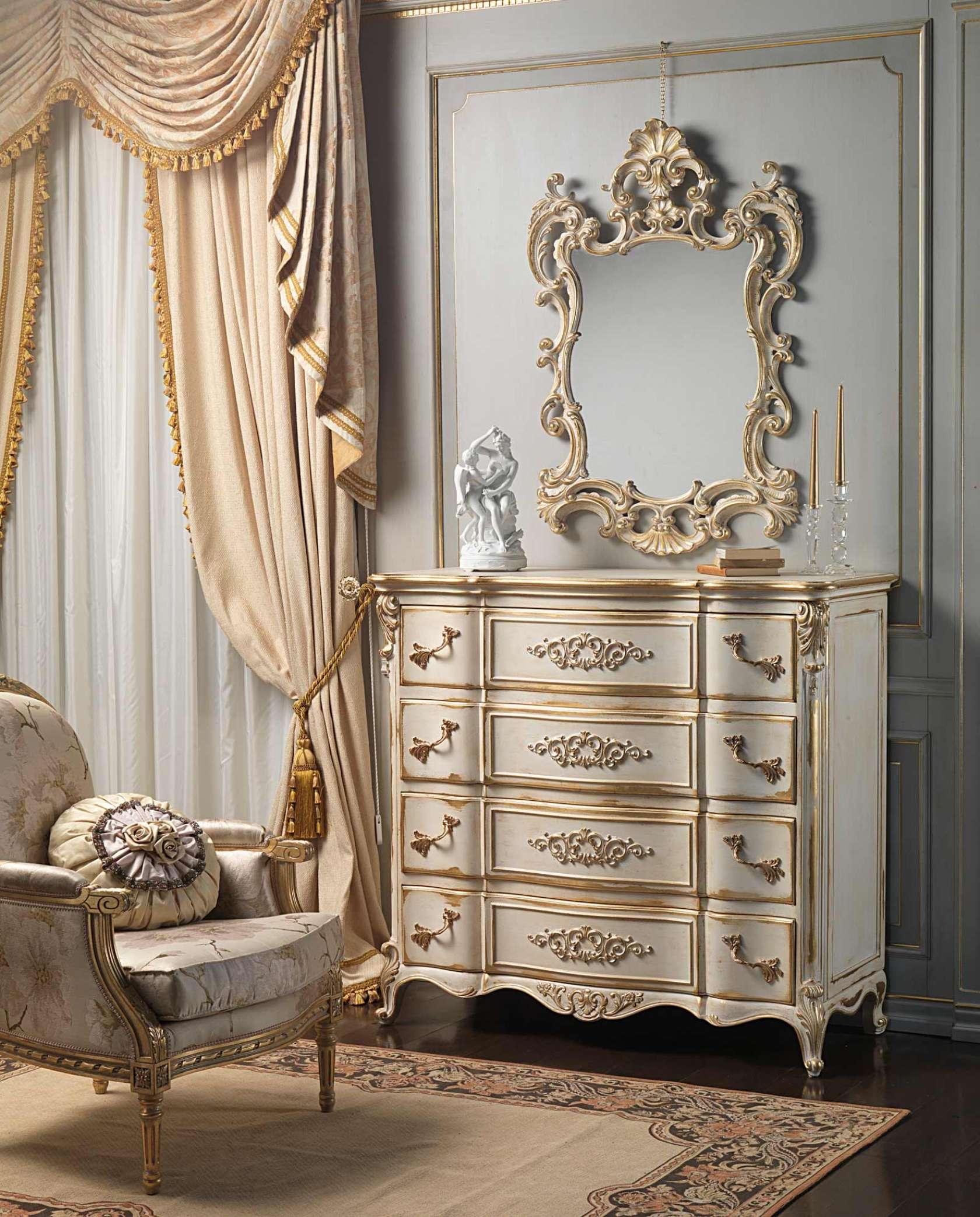 Camera da letto classica in stile LUigi XVI, comò e specchiera ...