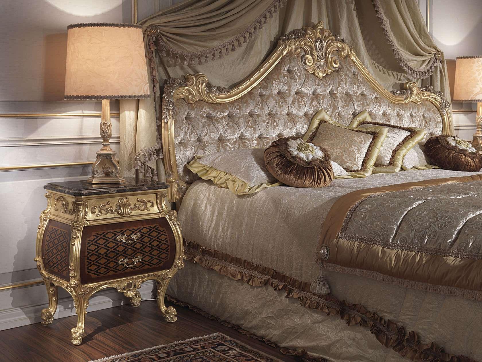 Camera da letto classica 700 italiano e luigi xv letto e comodino vimercati meda - Camera da letto luigi filippo ...