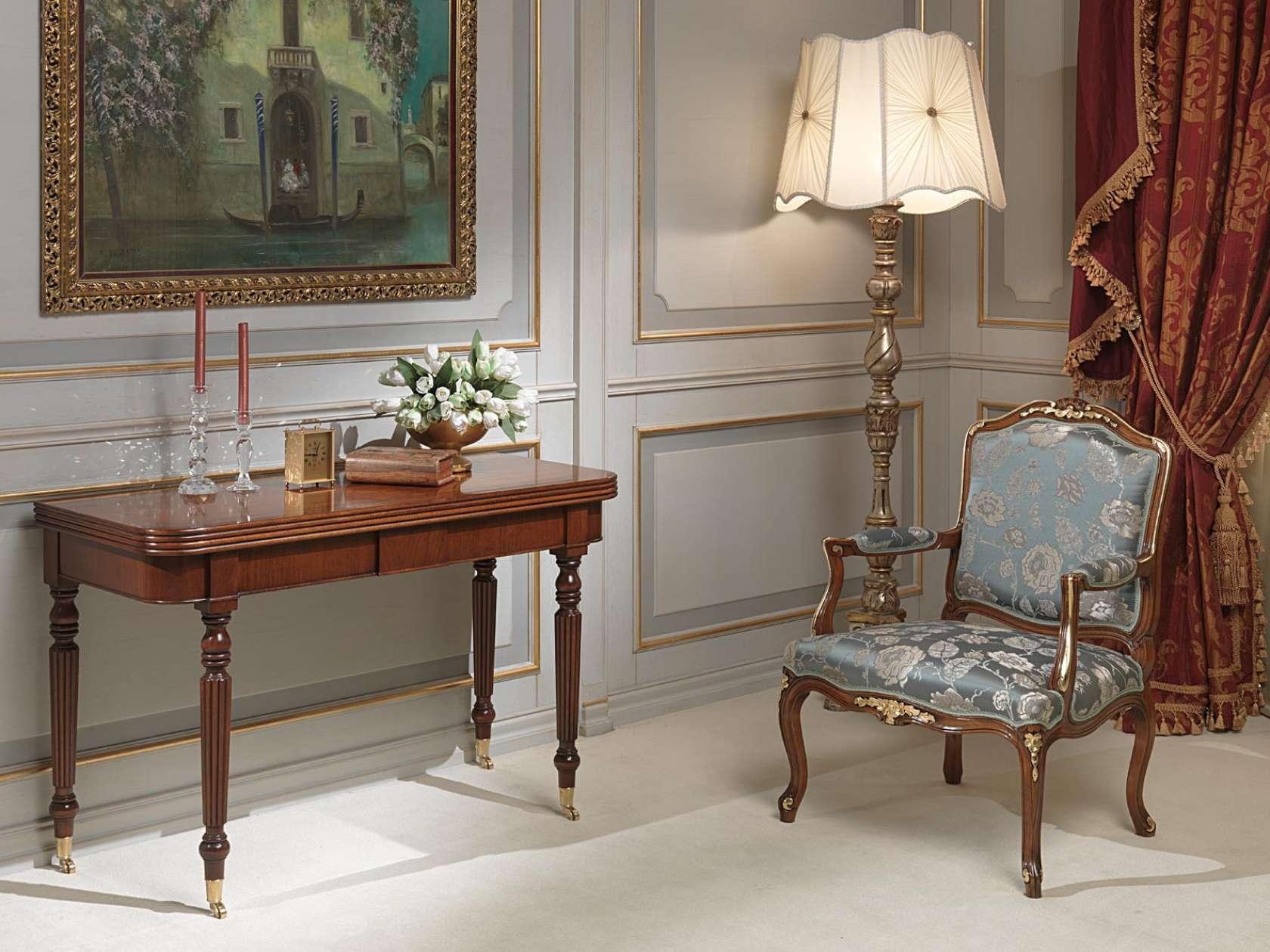 Tavolo Consolle Classico Allungabile Con Quattro Prolunghe E Ruote  #673F2D 1680 1260 Tavoli Da Pranzo A Consolle