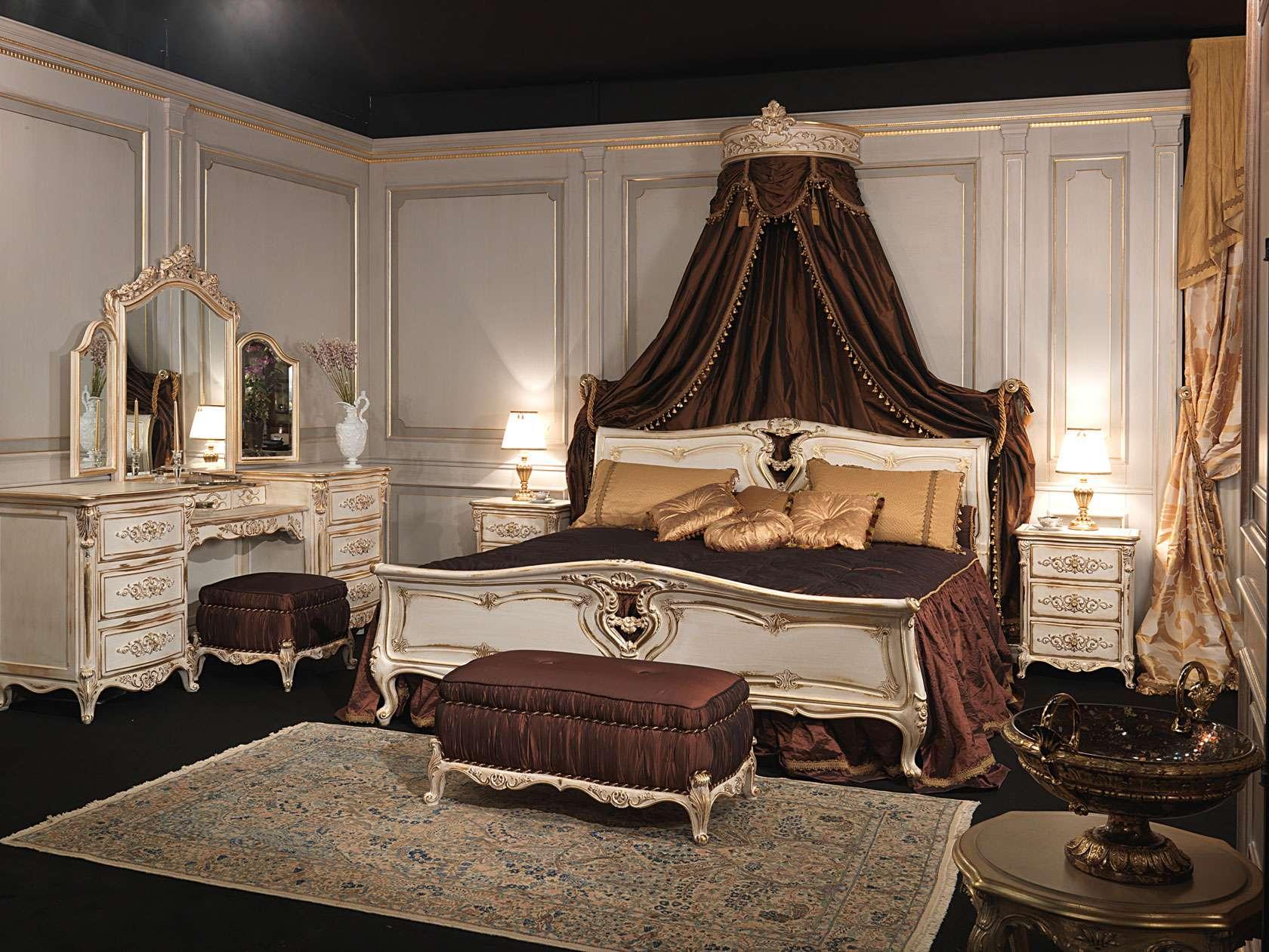 camera da letto classica in stile luigi xvi, letto in legno ... - Camera Da Letto Baldacchino