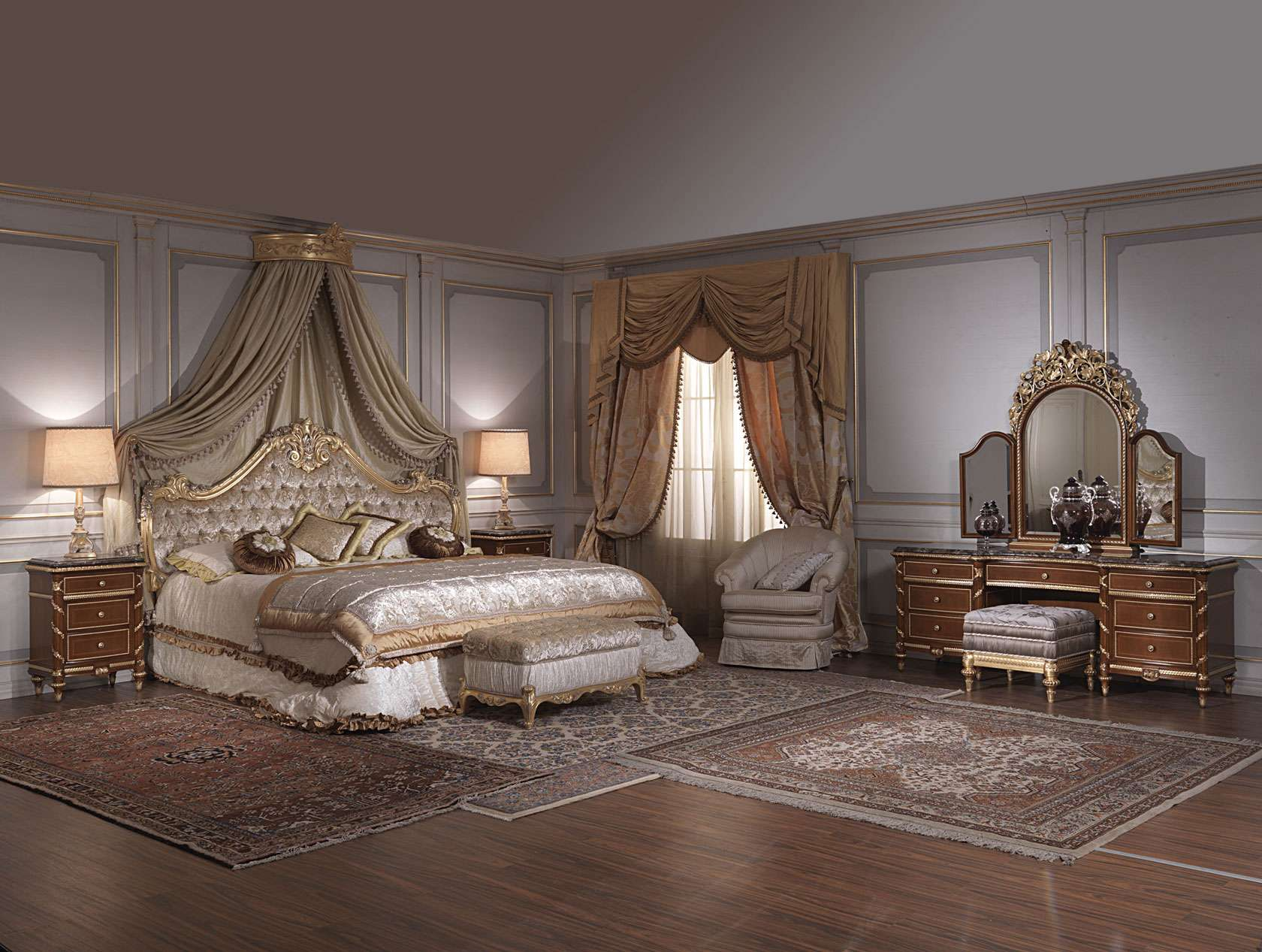 camera da letto classica 700 italiano, toilette e comodini luigi ... - Camera Da Letto Baldacchino