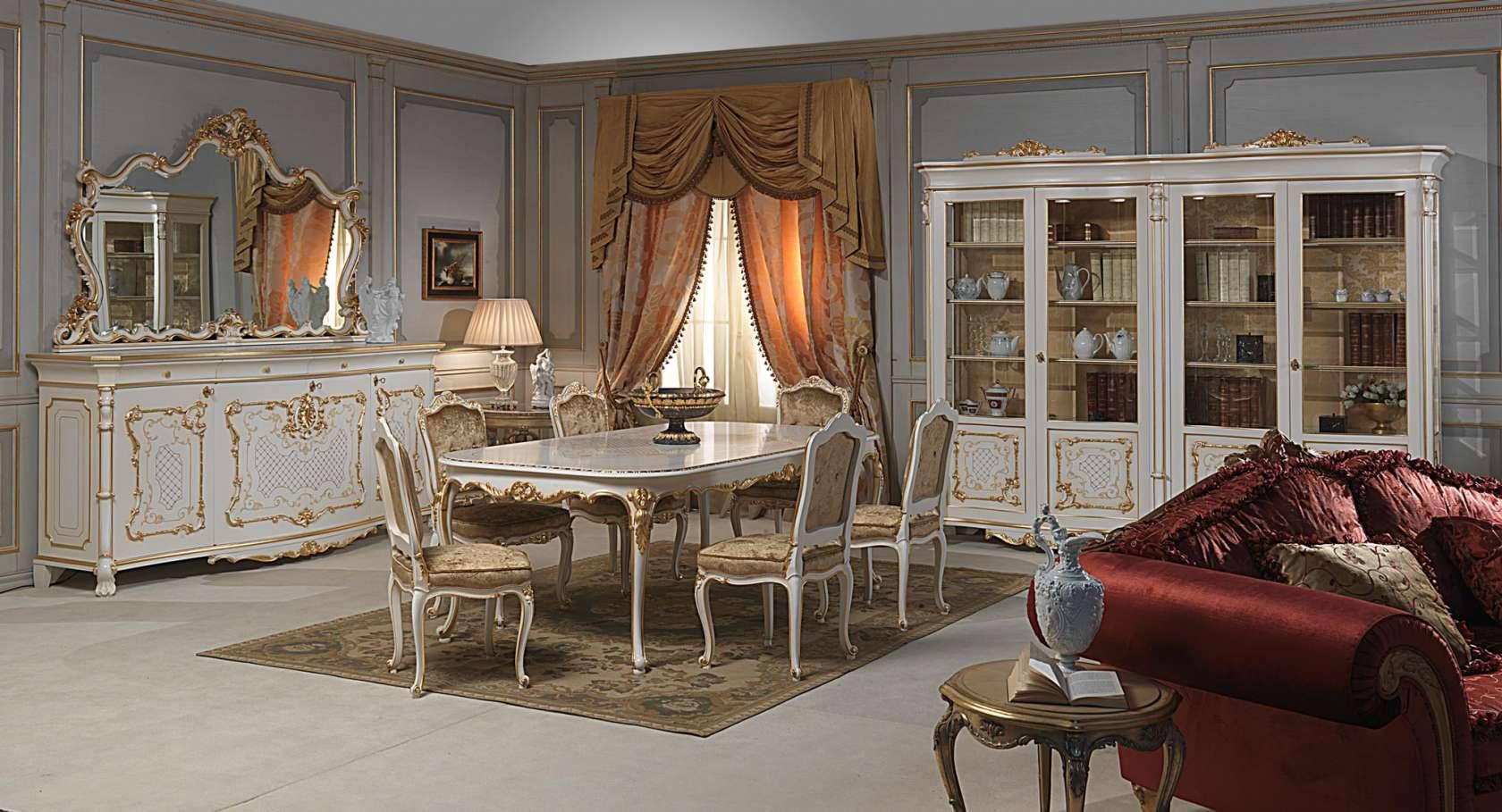 Sala Da Pranzo In Stile Luigi XV: Tavolo E Sedie Intagiati Credenza  #9E572D 1680 909 Mobili Per La Sala Da Pranzo