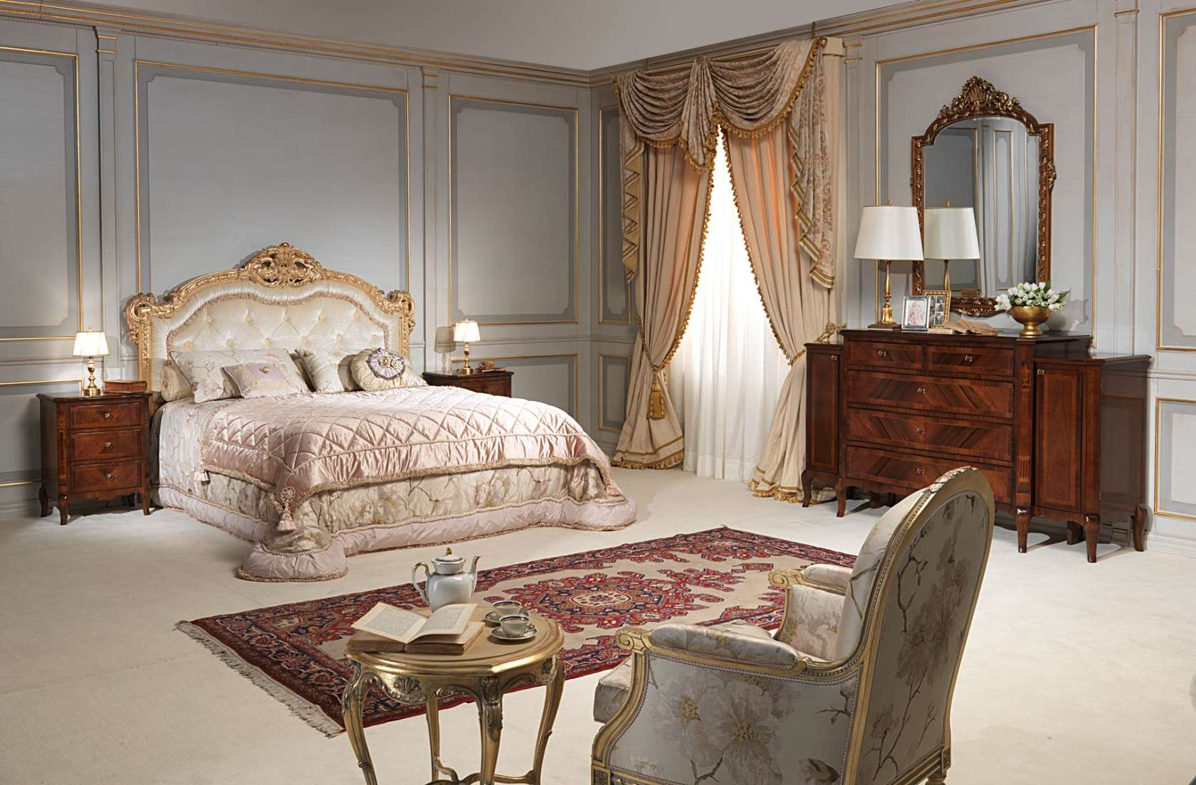 Classic luxury bedroom 800 francese, capitonné bed, gold leaf finish ...