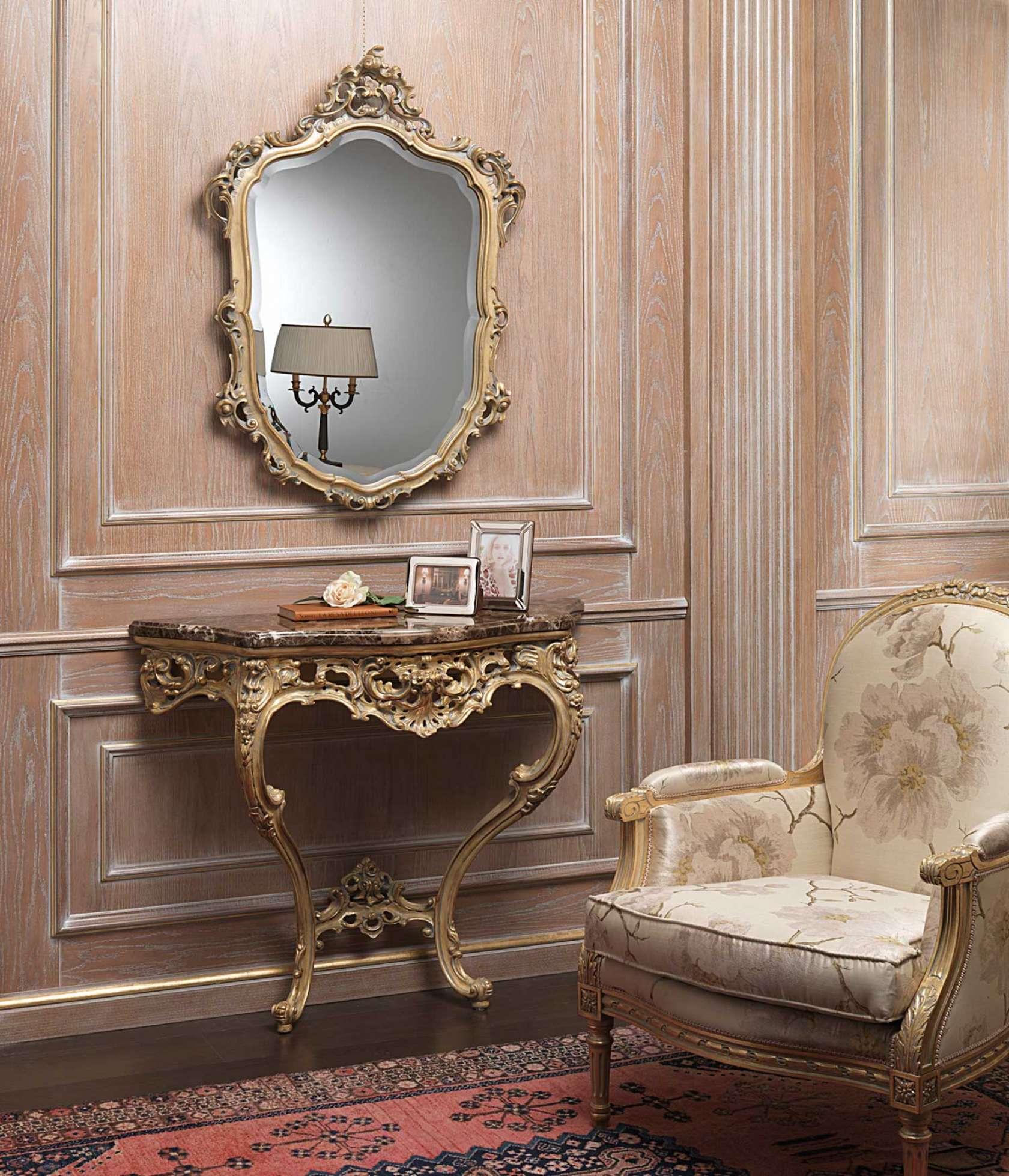 Consolle Classiche Con Specchiera.Consolle Classica Oro Patinato Grigio Vimercati Meda