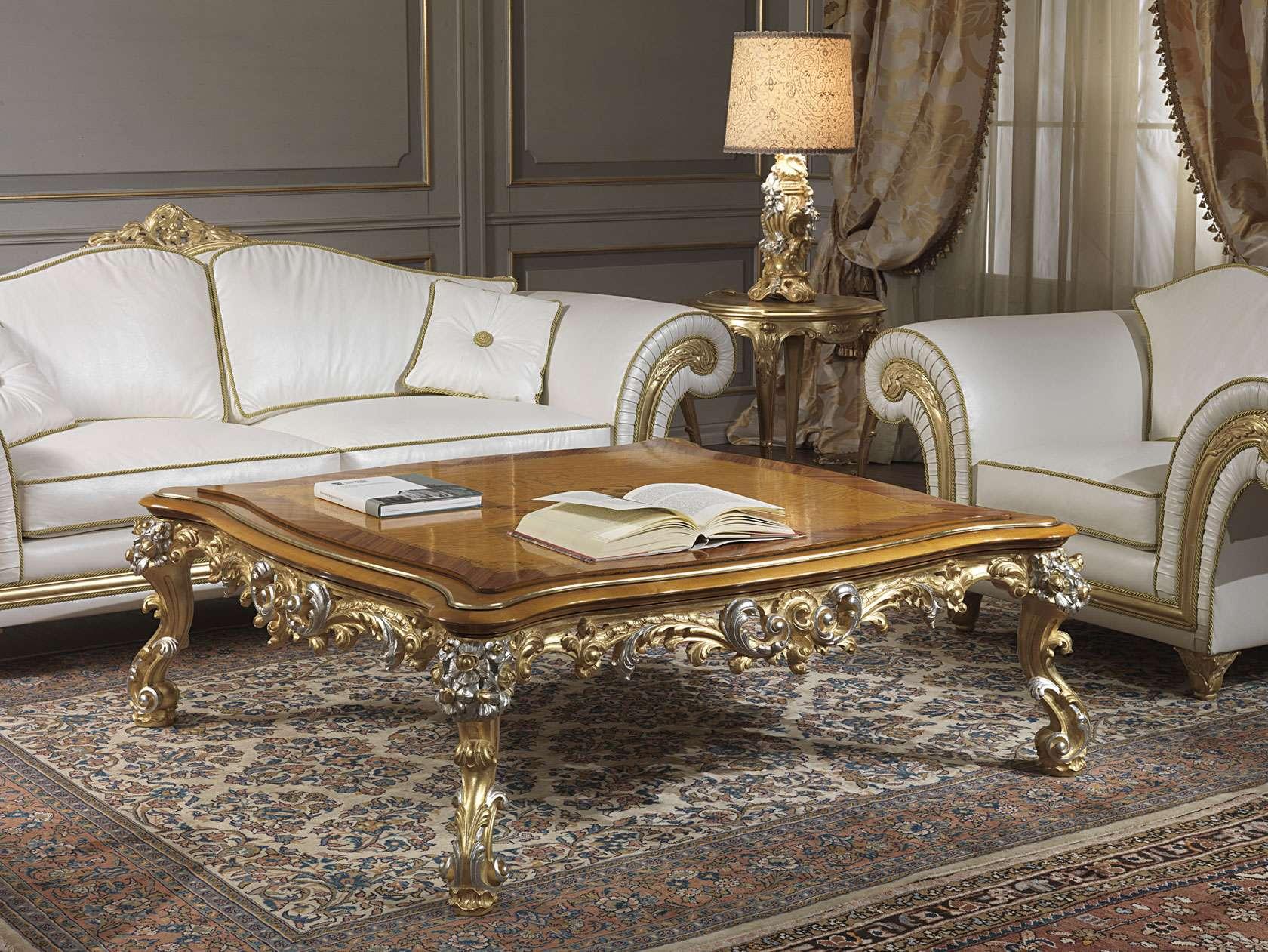 Salotto classico imperial in pelle bianca con tavolino vimercati
