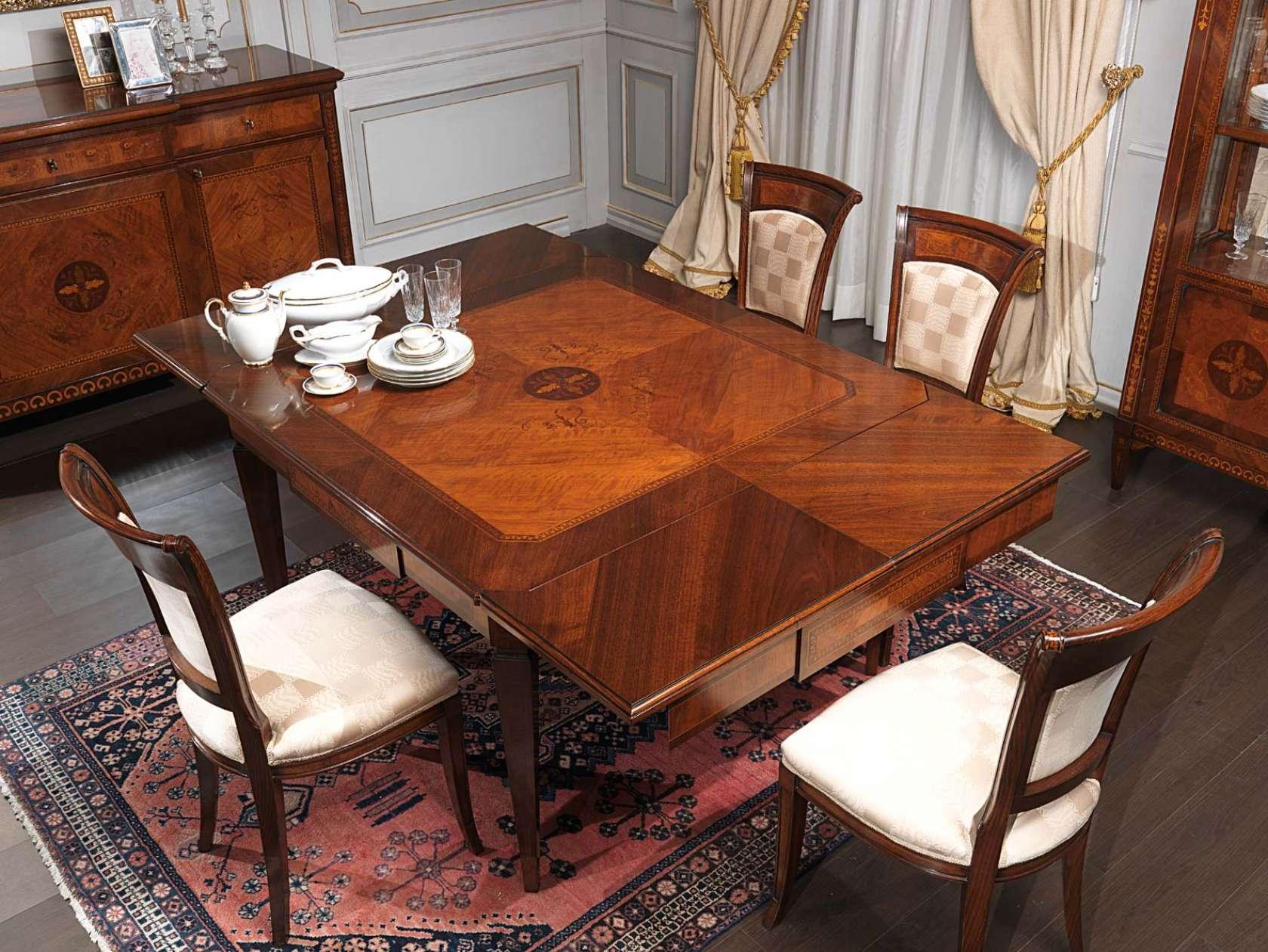 Tavolo intarsiato maggiolini vimercati meda for Sedie da sala da pranzo classiche