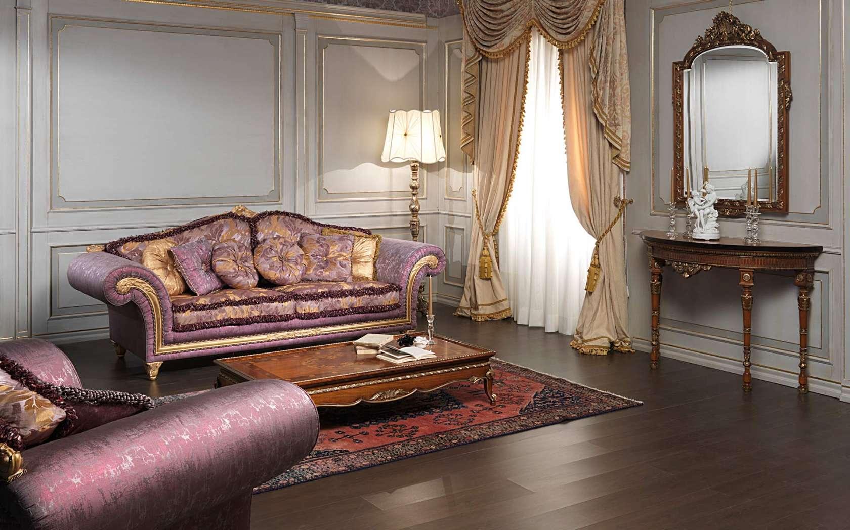 Salotto classico imperial in stoffa viola vimercati meda for Salotti particolari