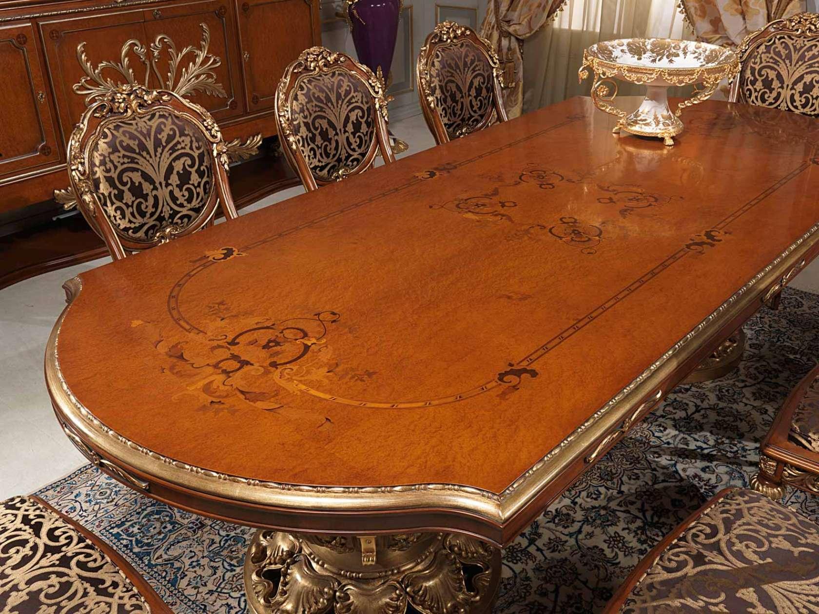 Tavolo Da Pranzo In Radica Di Mirto Riccamente Intagliato E Intarsiato  #B05010 1680 1260 Sala Da Pranzo In Noce