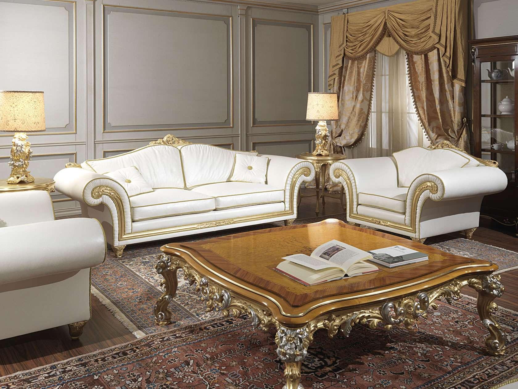 Salotto classico imperial con divano e poltrone for Mobili salotto