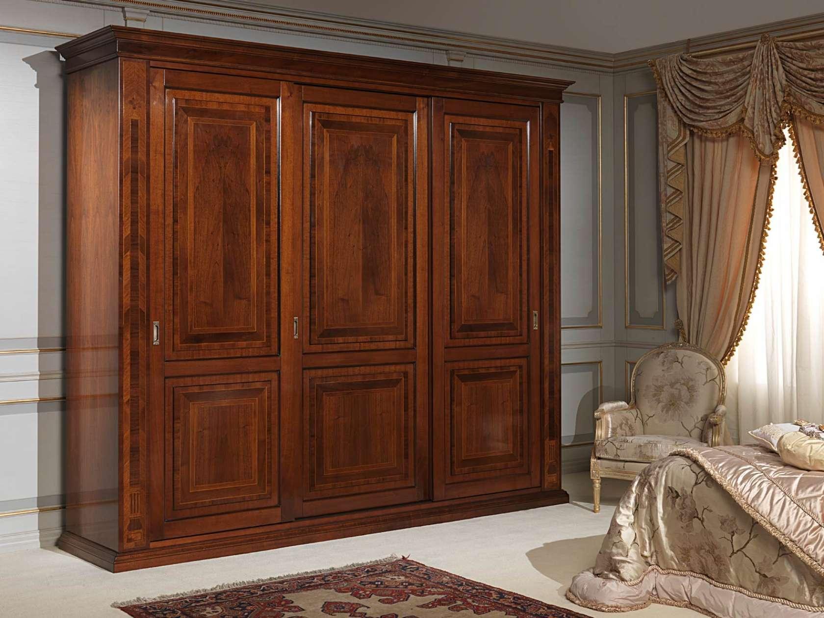 Camera da letto 800 francese armadio tre ante con intarsi vimercati meda - Armadio tre ante ikea ...