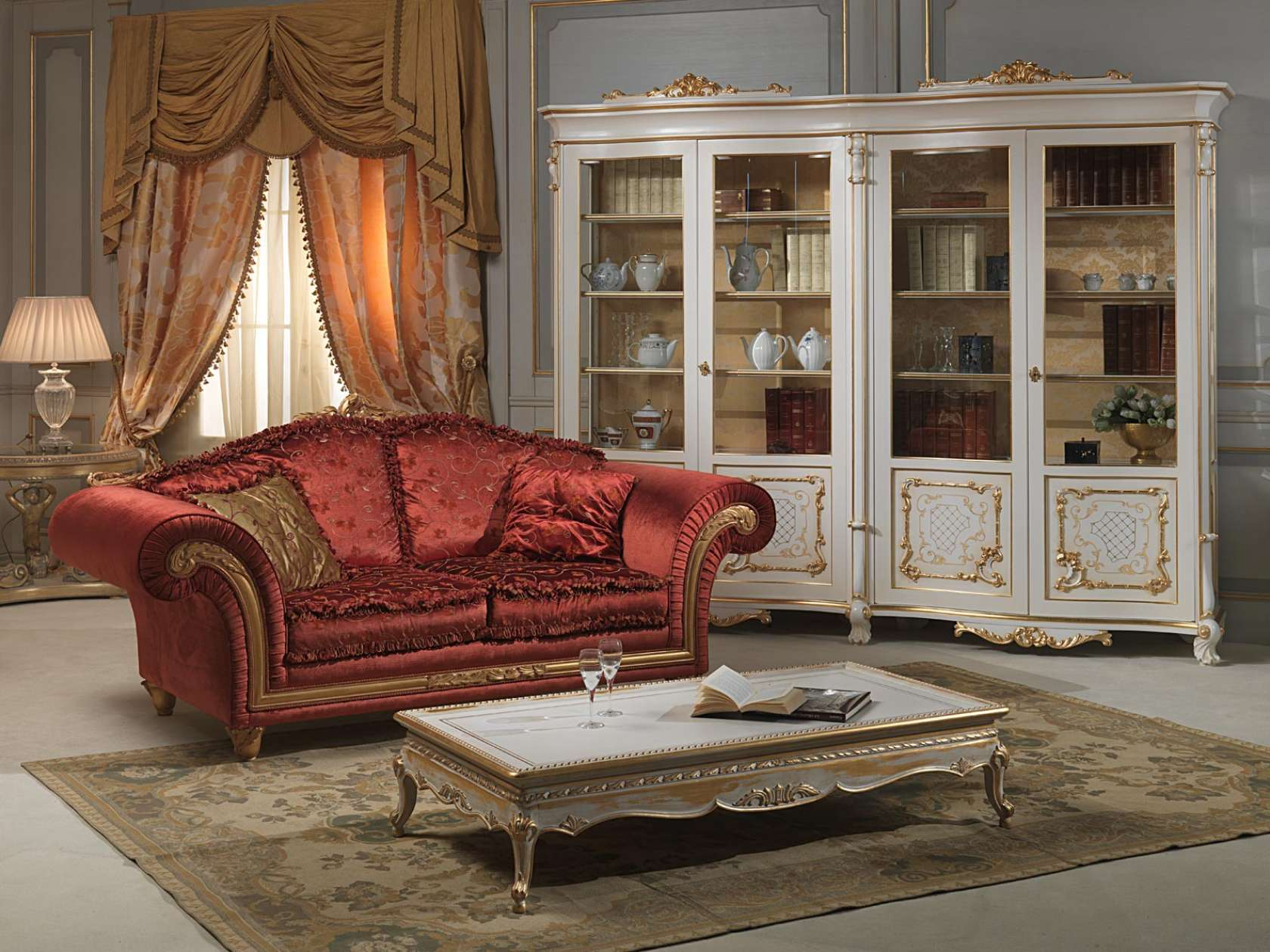 Credenza Con Vetrina In Stile : Salotto con vetrina venezia stile luigi xv vimercati meda