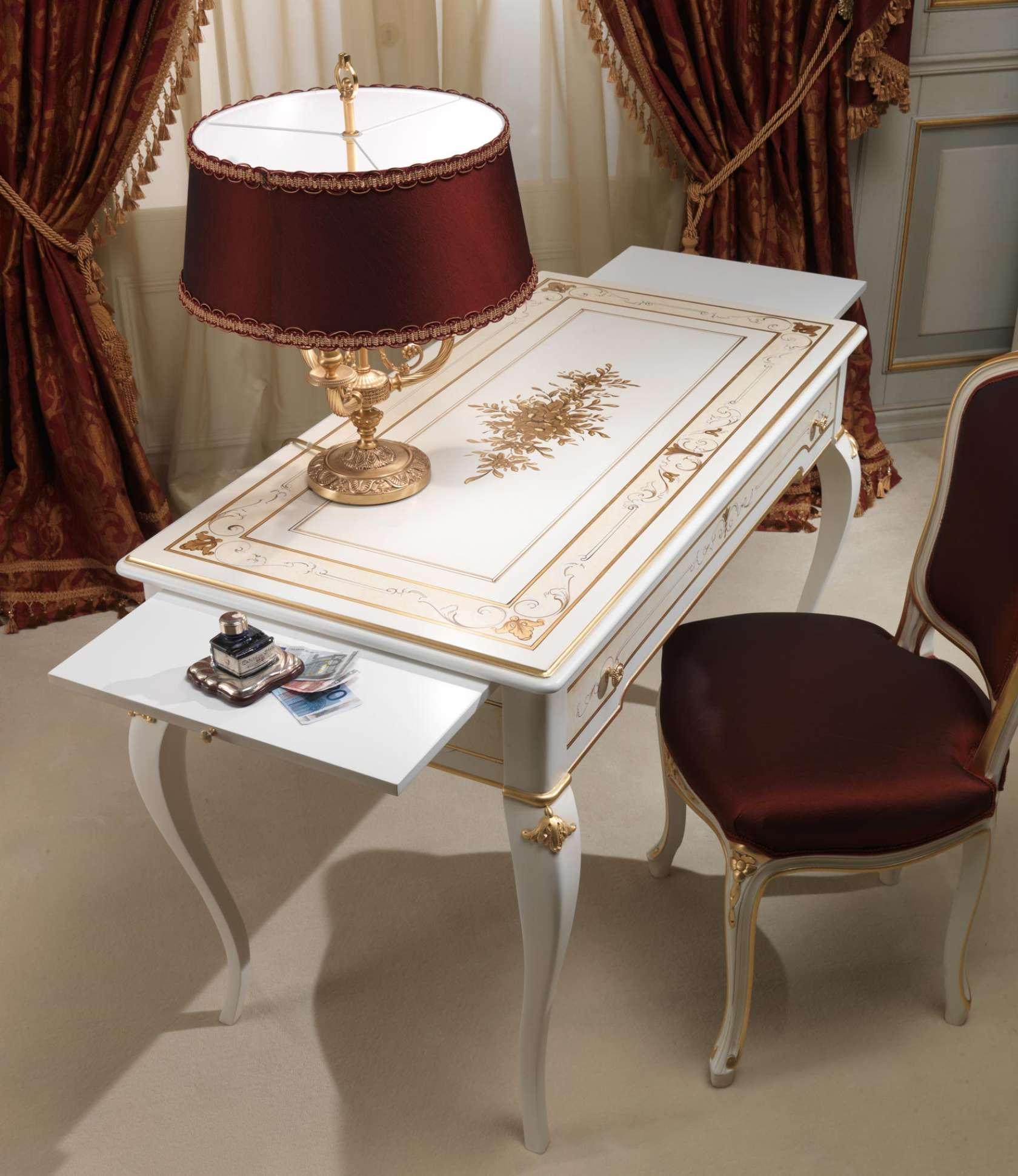 Camera Da Letto Classica Rubens In Stile 700 Francese Scrittoio Con Sedia E Lampada Vimercati Meda