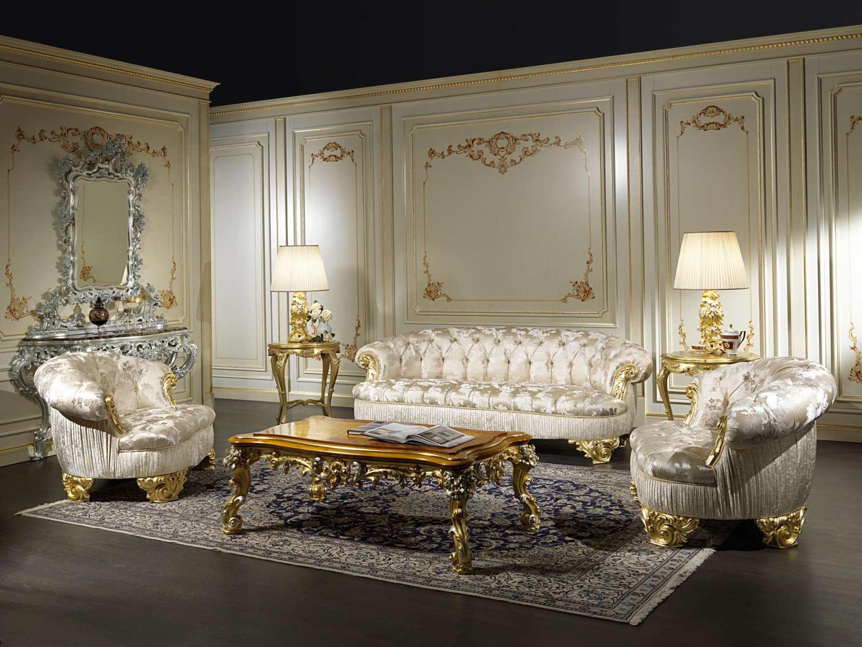 Divani salotto classico di lusso parigi vimercati meda for Arredamento classico di lusso