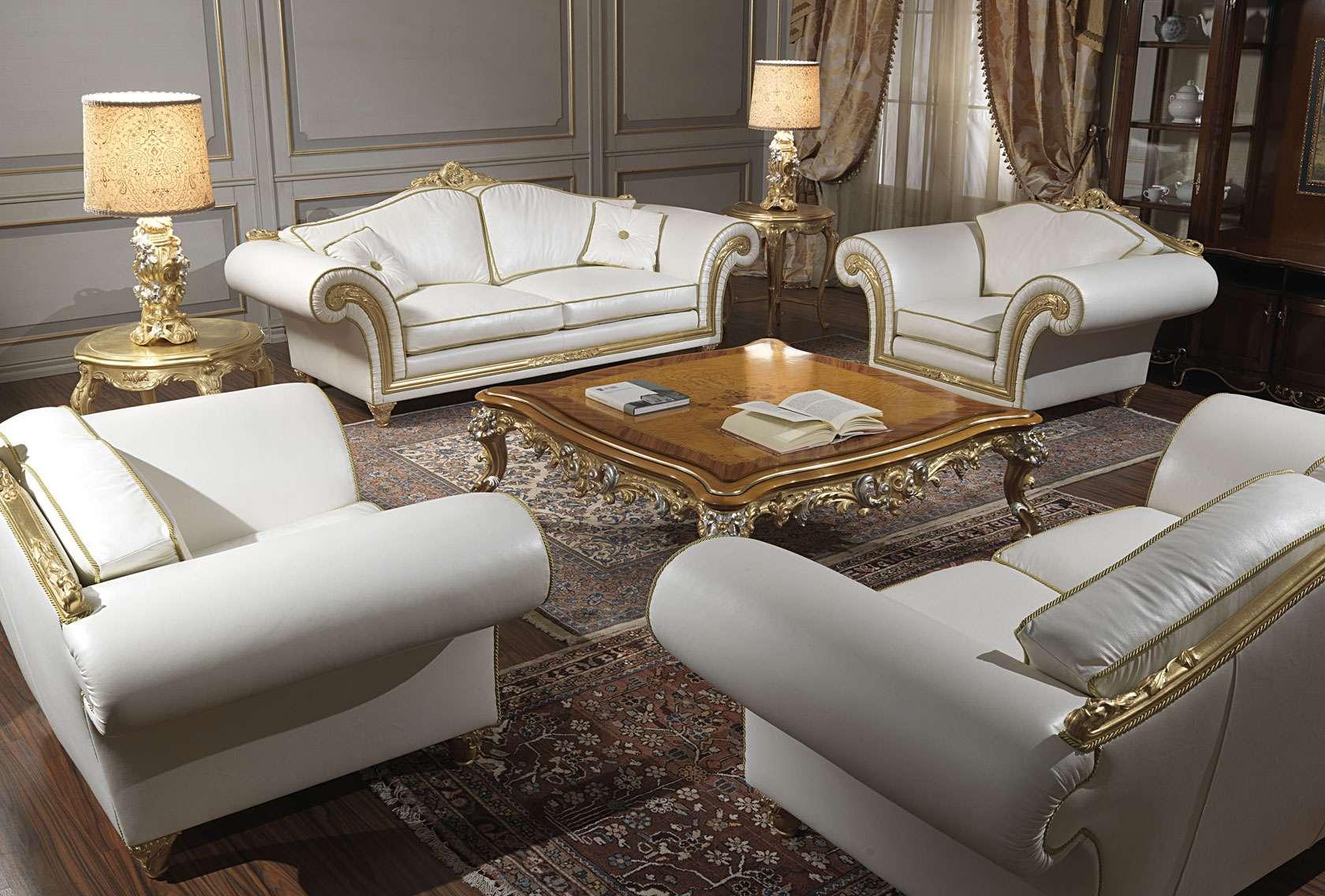Salotto classico imperial in pelle bianca vimercati meda for Vimercati meda