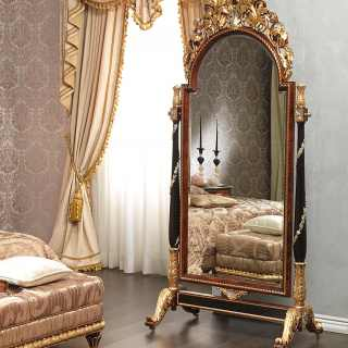 Classic bedroom Emperador Black, Luigi XV style, carved mirror on wheels, black and gold leaf