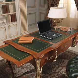 Desk Louis XV style, walnut antique finish, handmade carvings and gold leaf details. Classic luxury italian furniture