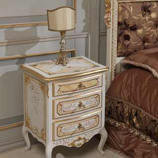 Classic night table, patinated ivory finish and gold details, luxury furniture collection Louvre