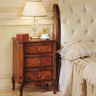 Classic walnut night table, 800 francese collection, with capitonné leather headboard bed