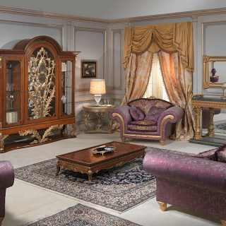 Luigi XVI style Versailles living room, myrtle briar glass showcase with carvings, inlayed and carved table, Excelsior sofa and armchairs with carvings, carved console with marble top and carved wall mirror