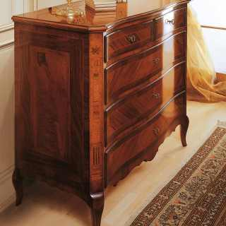 Walnut wood chest of drawers, antique finish, 800 francese classic luxury furniture collection