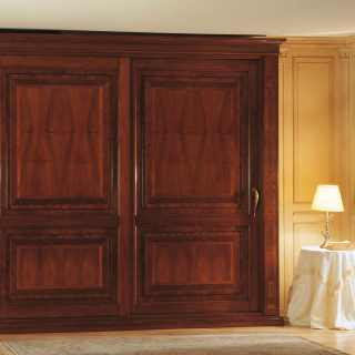 Walnut wardrobe two sliding doors with marquetry, walnut interior and solid wood back, luxury classic furniture collection 800 francese