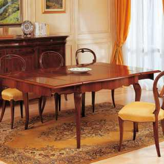 Walnut extensible table, 800 francese style, with marquetry. Italian luxury classic furniture