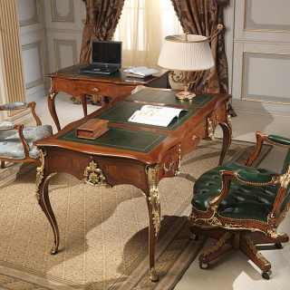 Classic studio Luigi style composed by desk, writing table, armchairs. Walnut antique finish, handmade carvings, gold leaf details