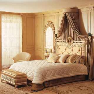 Classic bed Louvre and wall mirrors, white over gold finish, capitonné bench, walnut chest of drawers