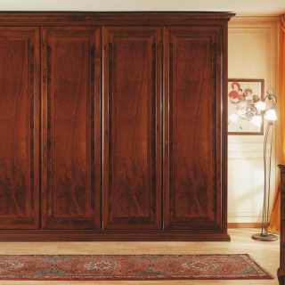 Walnut wardrobe with marquetry, walnut interior and solid wood back, 800 francese luxury classic collection